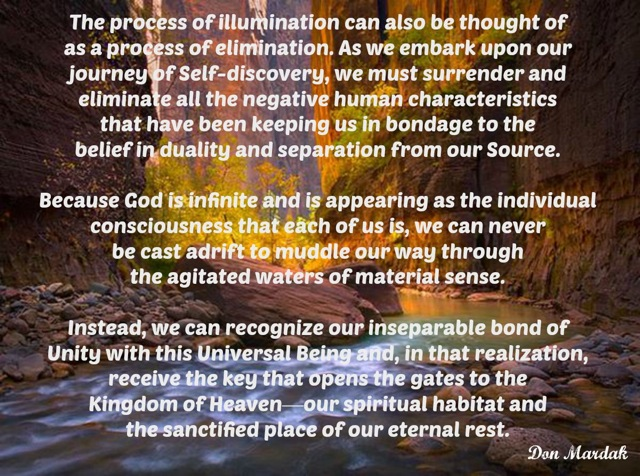 The process of illumination can also be thought of as a process of elimination.
