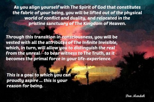 you align yourself with The Spirit of God that constitutes the fabric