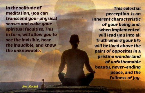 In the solitude of meditation, you an transcend your physical senses and wake your spiritual faculties
