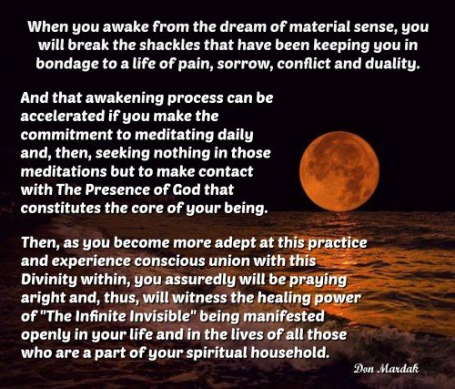 When you awake from the dream of material sense, you will break the shackles