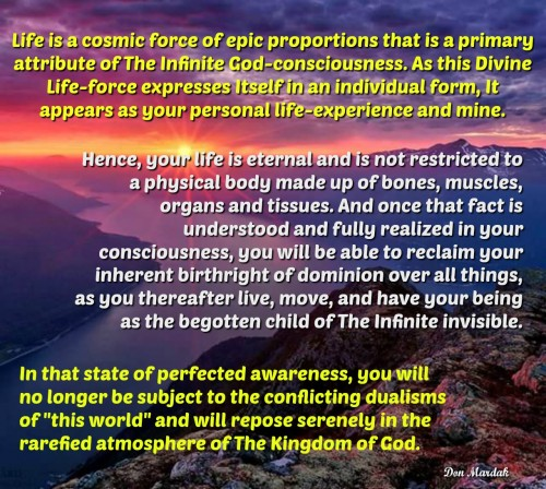 Life is a cosmic force of epic proportions that is a primary attribute