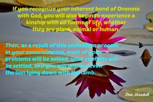 If you recognize your inherent bond of Oneness with God
