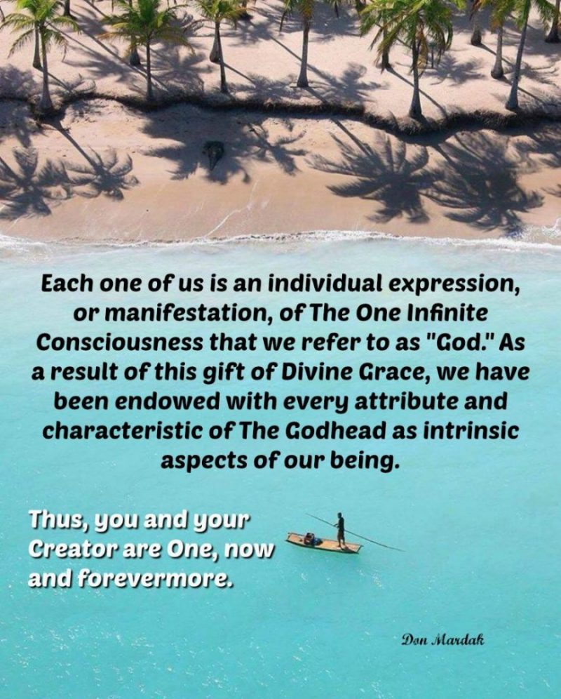 Each one of us is an individual expression, or manifestation, of The One Infinite