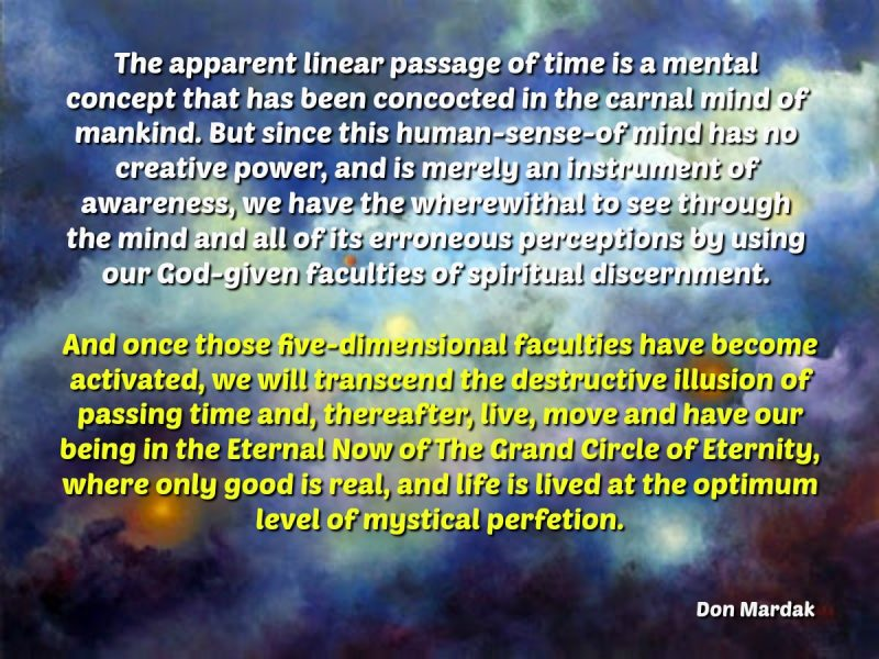 The apparent linear passage of time is a mental concept that has been concocted in the carnal mind
