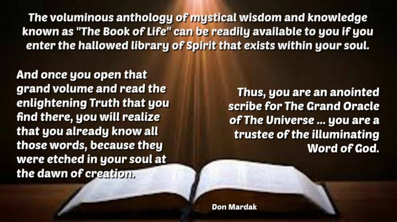 The voluminous anthology of mystical wisdom and knowledge known as The Book of Life (1)