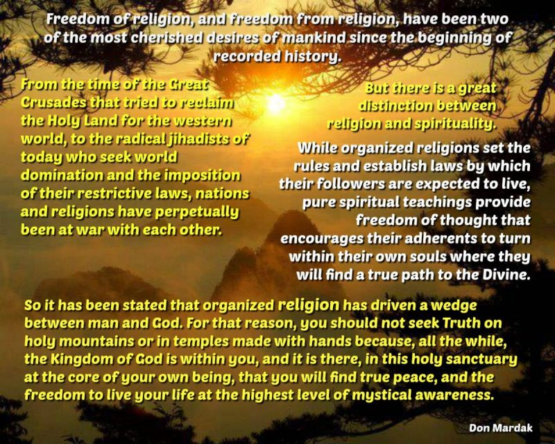 Freedom of religion, and freedom from religion
