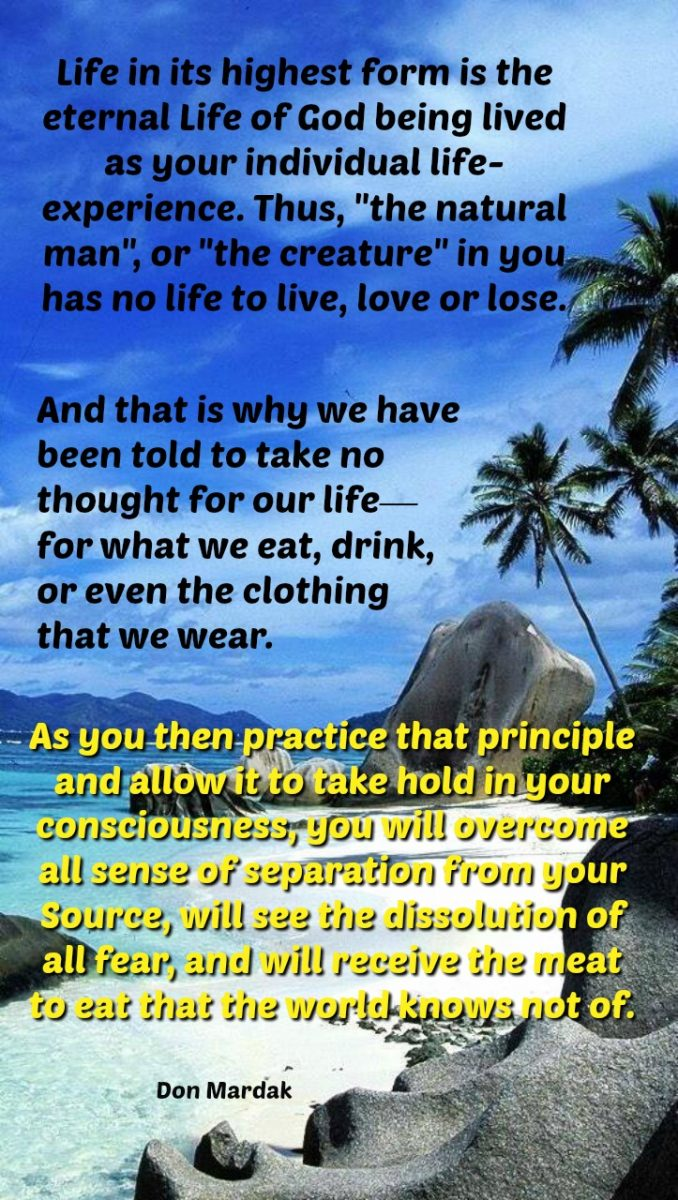 Life in its highest form is the eternal life of God being lived