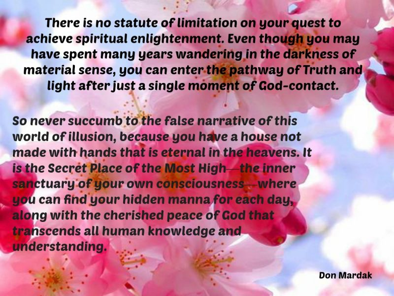 There is no statute of limitation on y9our quest to achieve spiritual enlightenment Flowers against Clouds & Blue Sky